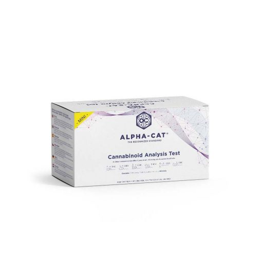 a box containing the Alpha-cat mini cannabinoid test kit that lets you perform up to 8 THC potency tests