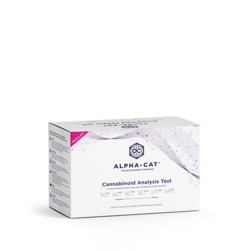 a box containing the Alpha-cat regular cannabinoid test kit that lets you perform up to 40 THC potency tests