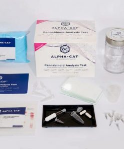 the contents of the Alpha-cat regular cannabinoid test kit that lets you perform up to 40 THC potency tests