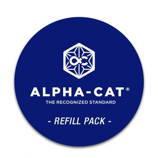 the Alpha-cat cannabinoid test kit refill pack replenished the mini and regular test kit and lets you perform up to 20 THC potency tests