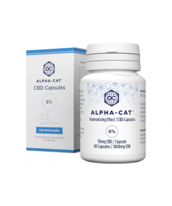 a bottle of Alpha-cat 30mg CBD capsules with a total of 60 capsules