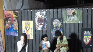 Figure 2: Xana Romeo singing unplugged backed by Nyabinghi drummers