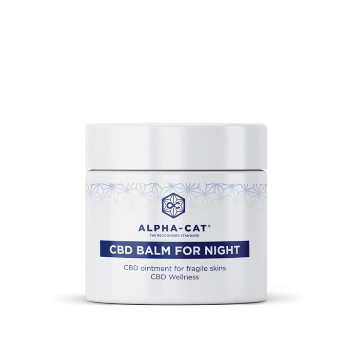 a 50ml jar of Alpha-Cat CBD vegan night balm suitable for all skin types