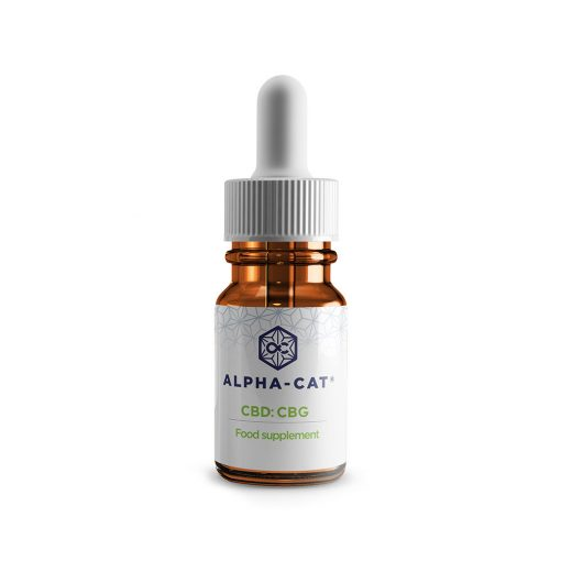a single 10ml bottle of Alpha-cat 1000mg CBD CBG oil blends with 500mg cannabidiol and 500mg cannabigerol in a concentrate of10%