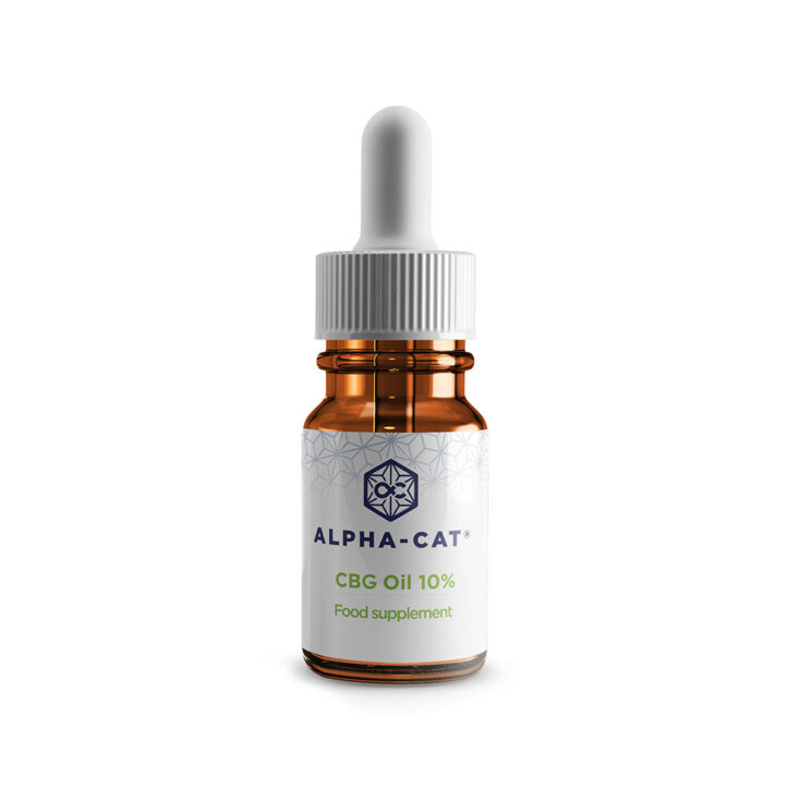 a single 10ml bottle of Alpha-cat 1000mg cannabigerol CBG oil in a concentrate of10%