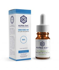 a 10ml bottle of Alpha-cat 1000mg CBD CBG oil blends with 500mg cannabidiol and 500mg cannabigerol in a concentrate of10%