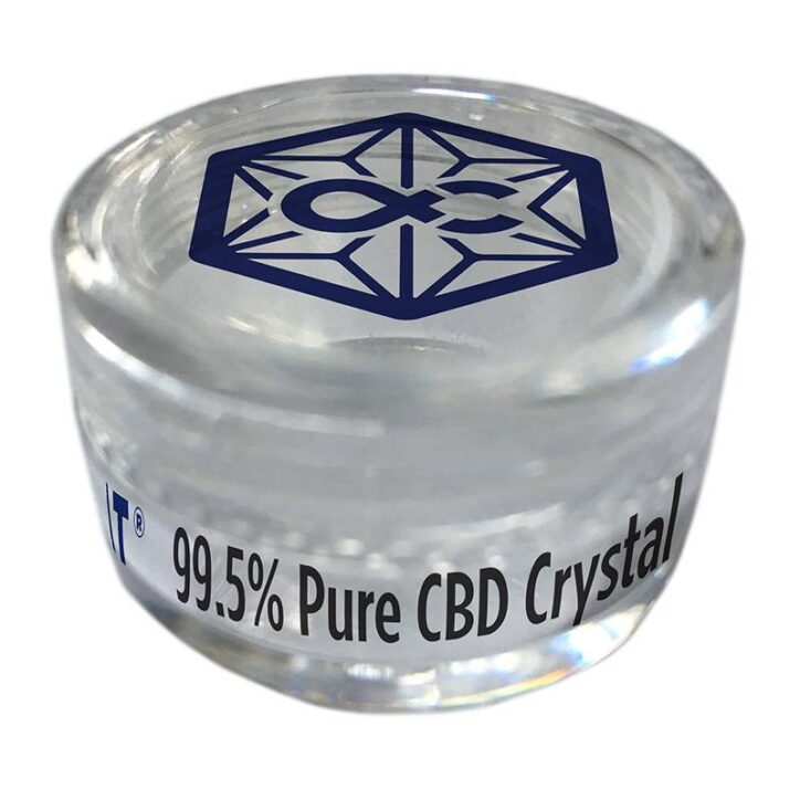 a jar of Alpha-cat pure CBD crystals with 99.5% cannabidiol purity and available in 500mg and 1000mg CBD potency