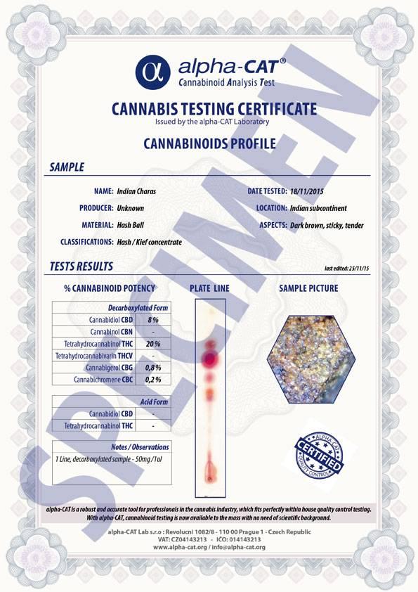 Ukázka certifikátu Alpha-cat LAB (verze z konce roku 2015)