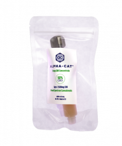an Alpha-cat 5ml dispenser containing vegan CBD paste concentrate (50%) with 2500mg of cannabidiol (CBD) made organically from Cannabis Sativa L