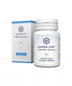 a bottle of Alpha-cat 20mg CBD capsules with a total of 60 capsules